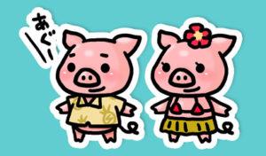 沖縄の豚あぐーの男女キャライラスト